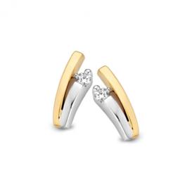Excellent Jewelry Bicolor V-vormige Oorstekers met 0,06 crt. Briljant