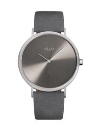 M&M Horloge voor Dames met Grijs Lederen Horlogeband