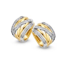 Excellent Jewelry Brede Bicolor Creolen met 0,36 crt. Briljanten