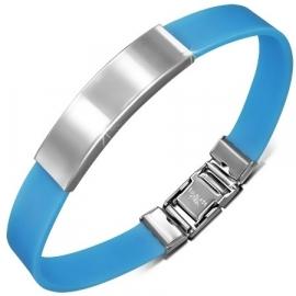 Blauwe graveer armband / Armband inkorten mogelijk