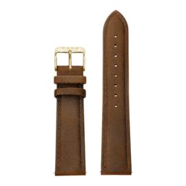 Bruine Lederen Horlogeband met Goudkleurige Gespsluiting van KANE