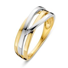 Excellent Jewelry Bicolor Dames Ring met Stroken