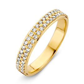 Excellent Jewelry Vlakke Geelgouden Ring met Diamanten