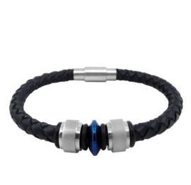 XS4M DISX Zwart Leren Armband met Bedels