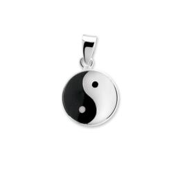 Yin Yang Bedel van Gepolijst Zilver met Emaille 10.03278