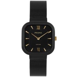 Prisma Zwart Vierkant Dames Horloge met Goudkleurige Elementen