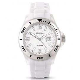 Zilverkleurig Heren Horloge met Witte Horlogeband