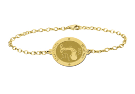 Gouden Armband met Ovaalvormige Waterman Sterrenbeeld Naamhanger > Names4ever