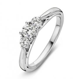 Excellent Jewelry Bolstaande Ring van Witgoud met 0,51 crt. Briljant