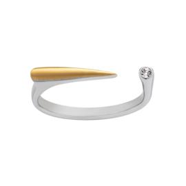Zilverkleurige Ring met Goudkleurige Bar en Kleurloze Zirkonia van M&M