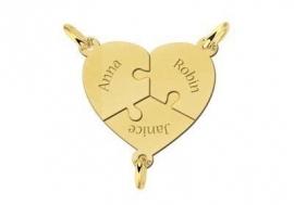 Names4ever Hartvormige Gouden Puzzelstukjes Vriendschapsketting met Namen