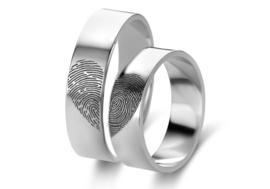 Zilveren ringen set met twee vingerafdrukken | Names4ever