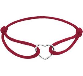Armband Bordeaux rood Satijn met Zilveren Hartje