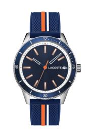 Lacoste Zilverkleurig Key West Heren Horloge met Blauwe Horlogeband