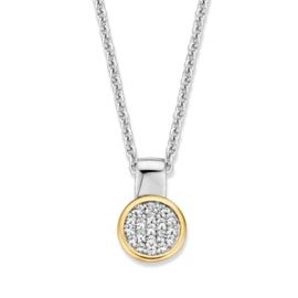 Excellent Jewelry Collier met Ronde Geelgouden Zirkonia Hanger