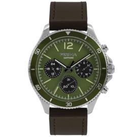 Prisma Zilverkleurig Heren Horloge met Bruine Lederen Horlogeband