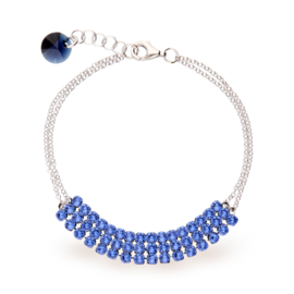 Stylish Zilveren Armband met Blauwe Swarovski Kristallen