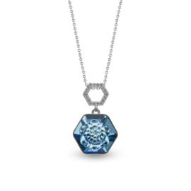 Favo Ketting met Blauwe Zeshoekige Glaskristal Hanger