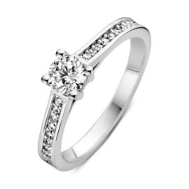 Excellent Jewelry Witgouden Ring met Zirkonia's en Kopstuk