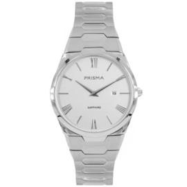 Prisma Licht Zilverkleurig Heren Horloge met Zilverkleurige Wijzerplaat