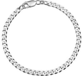 Zilveren Armband Geslepen Gourmet 4,3 mm / Lengte 19cm