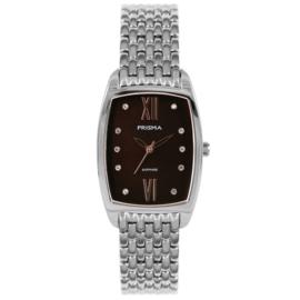 Zilverkleurig Dames Horloge met Zwarte Parelmoer Wijzerplaat