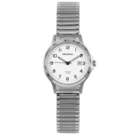 Titanium Dames Horloge van Prisma met Rekband en Witte Wijzerplaat