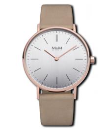Roségoudkleurig M&M Horloge voor Dames met Beige Horlogeband