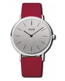 Zilverkleurig Basic 36 Dames Horloge met Burgundy Band van M&M