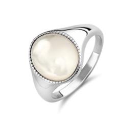 Zilveren Dames Ring met Bolle Parelmoer Steen