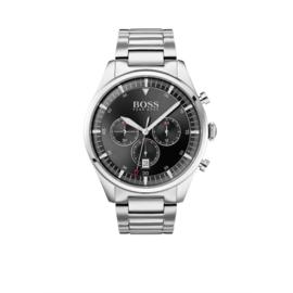 Hugo Boss Horloge Pioneer Zilverkleurig Horloge met Zwarte Wijzerplaat van Boss
