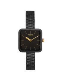 Vierkant Zwart M&M Dames Horloge met Milanese Horlogeband