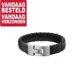 Armband van Zwart Gevlochten Leer / 20cm