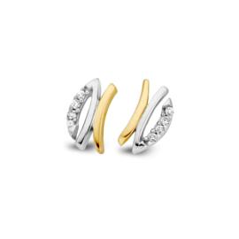 Excellent Jewelry Bicolor Oorstekers met Meerdere Briljanten
