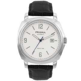 Prisma Zilverkleurig Heren Horloge met Witte Wijzerplaat
