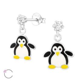 Zilveren Oorknoppen met Pinguïn Hangers