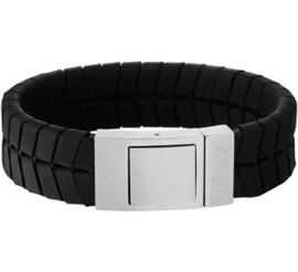 Zwart Lederen Profiel Armband met Edelstalen Sluiting - Graveer sieraad