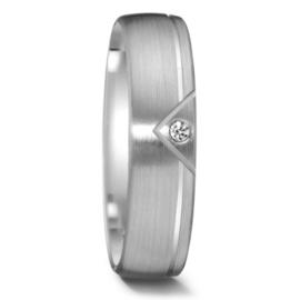 Elegante Matte Zilveren Dames Trouwring met Gepolijste Lijn en Diamant