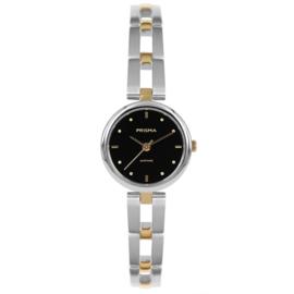 Edelstalen Dames Horloge met Goudkleurige Elementen