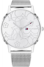 Tommy Hilfiger Zilverkleurig Dames Horloge met Decoratieve Wijzerplaat