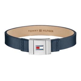 Brede blauwe Lederen Heren Armband van Tommy Hilfiger TJ2700948