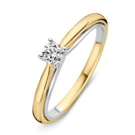 Excellent Jewelry Bolstaande Bicolor Ring met 0,25 crt. Briljant