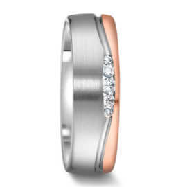 Zilveren Dames Trouwring met Gepolijste Roségouden Rand en Diamanten