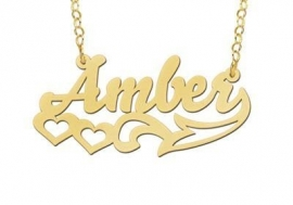 Names4ever Vergulde Amber Model Naamketting