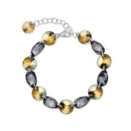 Zilveren Bovino Oker met Grijze Glaskristallen Armband van Spark