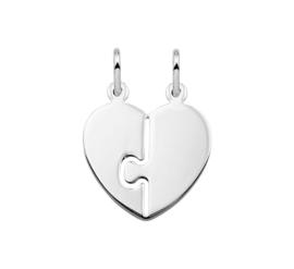 Gepolijste Hartvormige Zilveren Breekhanger