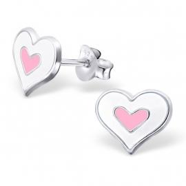 Zilver met Wit en Roze Hart Meisjes Oorbellen