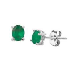Witgouden Ovale Groene Smaragd Oorknoppen