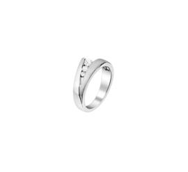Zilveren Ring met Zirkonia Steentjes / Ringmaat 17,5