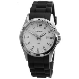 Rond Prisma Heren Horloge met Zwarte Silicone Horlogeband